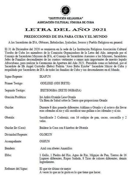 Brief des Jahres 2021 | Bildquelle: https://www.cubainformacion.tv/cuba/20210101/89417/89417-dan-a-conocer-en-cuba-la-letra-del-ano-2021 © ACYC | Bilder sind in der Regel urheberrechtlich geschützt